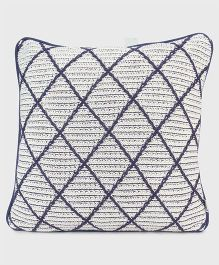 Pluchi Cotton Knitted Cushion Cover - Blue