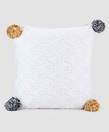 Pluchi Cotton Knitted Cushion Cover - White Yellow & Dark Grey