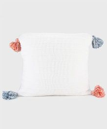 Pluchi Cotton Knitted Cushion Cover - White Blue & Orange