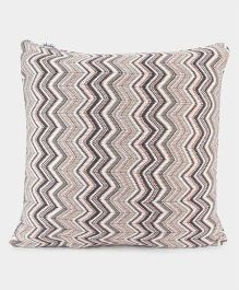Pluchi Stylish Cotton Knitted Cushion Cover - White & Grey