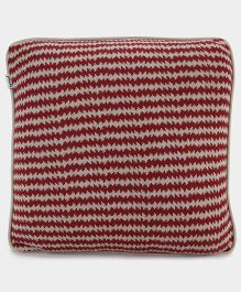 Pluchi Stylish Cotton Knitted Cushion Cover - Red
