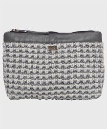 Pluchi Trendy Cotton With Leather Pouch - Grey & Silver