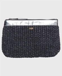 Pluchi Cotton With Faux Leather Pouch - Grey & Silver