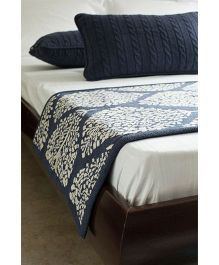 Pluchi Trendy Bed Runner With 2 Cushion Covers Set - Navy Blue