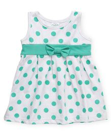 Babyhug Sleeveless Polka Dotted Frock - White Mint Green