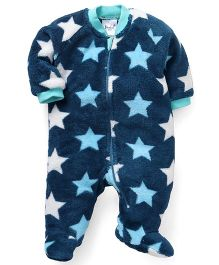 Pinehill Full Sleeves Footed Sleep Suit Stars - Blue