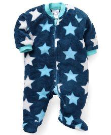 Pinehill Full Sleeves Footed Sleep Suit Stars - Blue