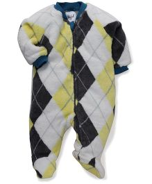 Pinehill Full Sleeves Footed Sleep Suit - Grey & Yellow