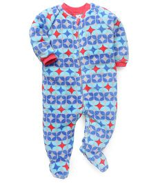 Pinehill Full Sleeves Footed Sleep Suit - Blue & Grey