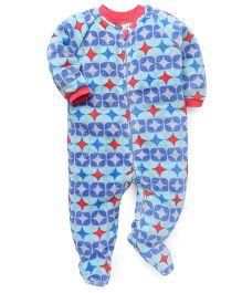 Pinehill Full Sleeves Footed Sleep Suit - Blue & Grey
