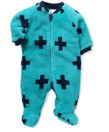 Pinehill Full Sleeves Footed Sleep Suit - Teal Blue