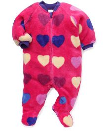 Pinehill Full Sleeves Footed Sleep Suit Hearts - Pink