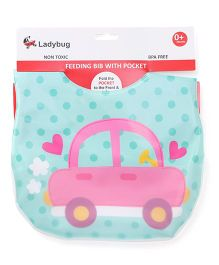 Ladybug Feeding Bib Car Print - Ice Green