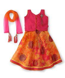 Bluebell Sleeveless Choli Ghagra Set With Dupatta - Dark Pink
