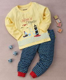 Tiny Bee Printed Tee & Outdoor Pyjama Set - Yellow & Navy Blue