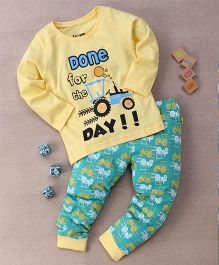 Tiny Bee Day Print T-Shirt & Pyjama Set - Yellow & Green