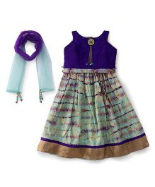 Bluebell Choli With Ghagra And Dupatta - Purple