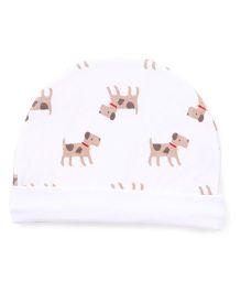Ben Benny Round Bonnet Puppy Print Cap - White