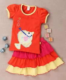 Tiny Bee Top & 3 Tier Skirt Set - Orange Pink & Yellow