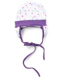 Ben Benny Dot Print Ear Cover Tie Knot Cap - White & Purple