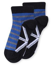 Bonjour Ankle Length Stripes Socks - Black Blue Grey