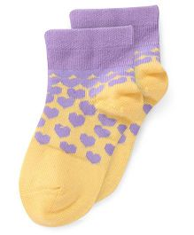 Bonjour Ankle Length Hearts Design Socks - Yellow Purple