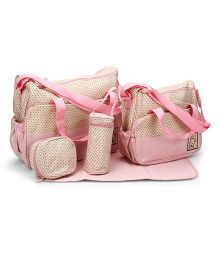 Mother Bag Set Pack of 5 Polka Dots Print - Peach And Cream
