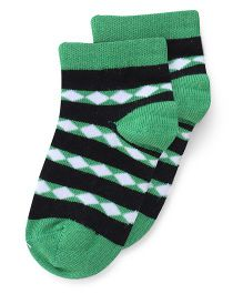 Bonjour Ankle Length Diamonds Design Socks - Black Green