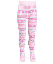 Mustang Footed Tights Stockings Floral Design - Pink