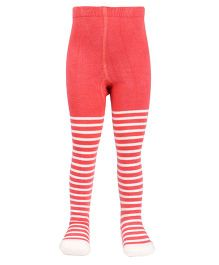 Mustang Footed Tights Stockings Stripes Design - Coral