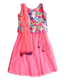 Campana Sleeveless Choli And Lehenga With Dupatta Floral Print - Pink