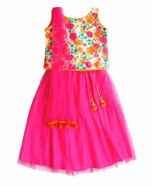 Campana Sleeveless Choli And Lehenga With Dupatta Floral Print - Magenta