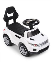 Manual Push Land Rover Design Ride On Vehicle - White & Black