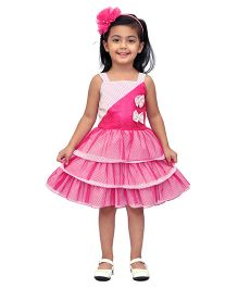 Kilkari Frilled Dress With Sequin Work & Bow - White & Pink