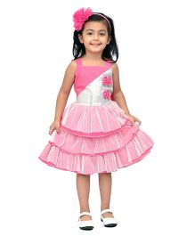 Kilkari Frilled Dress With Sequin Work & Bow - Pink & White