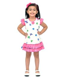 Kilkari Butterfly & Flower Print Dress With Frills On Sleeve & Bottom Hem - White & Pink