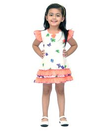 Kilkari Butterfly & Flower Print Dress With Frills On Sleeve & Bottom Hem - White & Orange