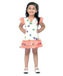 Kilkari Butterfly & Flower Print Dress With Frills On Sleeve & Bottom Hem - Orange