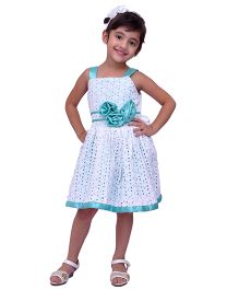 Kilkari Flower Applique Hakobaa Dress - White & Blue