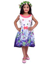 Kilkari Asymmetric Floral Bottom Hem Dress - Purple