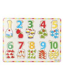 Playmate Wooden Numbers Puzzle With Pegs - Multicolor