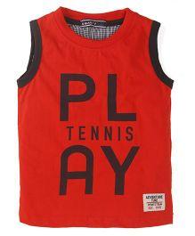 Smarty Sleeveless Play Tennis Print T-Shirt - Red