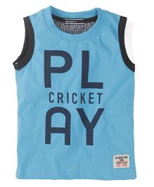 Smarty Sleeveless Play Cricket Print T-Shirt - Blue
