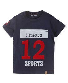 Smarty Half Sleeves Printed T-Shirt - Navy