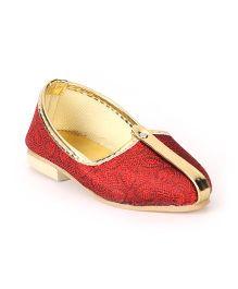 Ethniks Neu Ron Traditional Ethnic Mojari Shoes - Maroon