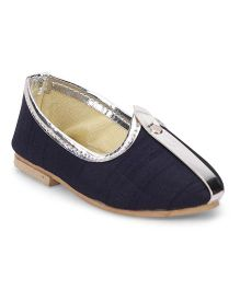 Ethniks Neu Ron Solid Color Traditional Mojari Shoes - Navy