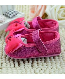 Wow Kiddos Shimmery Shoes With Bow - Pink