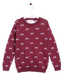 RVK Bow Design Pull Over - Wine Red