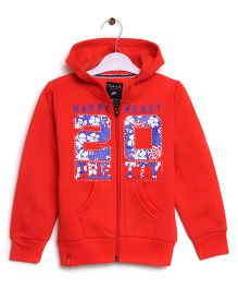 RVK 20 Text Zipper Jacket With Hoodie - Red