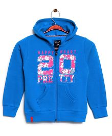 RVK 20 Text Zipper Jacket With Hoodie - Blue